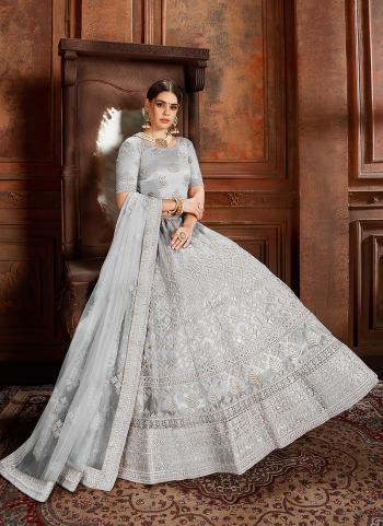Wedding Wear Grey Net Thread Work Lehenga Choli
