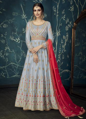 Wedding Wear Grey Satin Embroidery Work Anarkali Suit