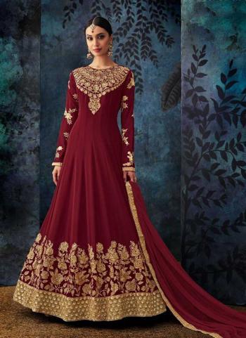 Wedding Wear Maroon Georgette Embroidery Work Anarkali Style