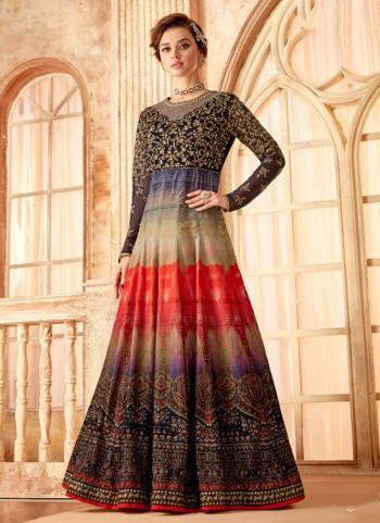 Wedding Wear Multi Color Velvet Embroidery Work Anarkali Suit