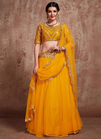 Wedding Wear Mustard Net Sequins Work Lehenga Choli