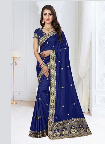 Wedding Wear Navy Blue Silk Resham Work Saree