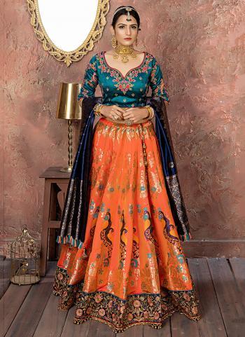 Wedding Wear Orange Banarasi Silk Resham Work Lehenga Choli