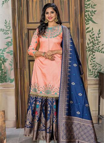 Wedding Wear Peach Silk Embroidery Work Sharara Suit