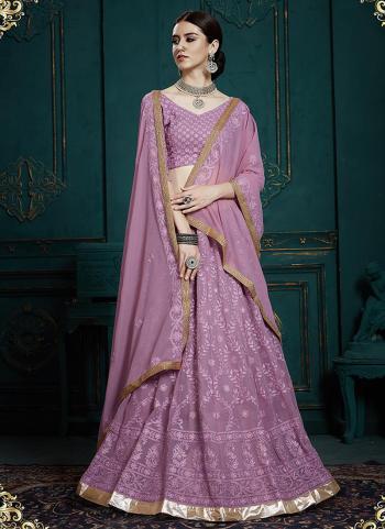 Wedding Wear Purple Georgette Thread Work Lehenga Choli