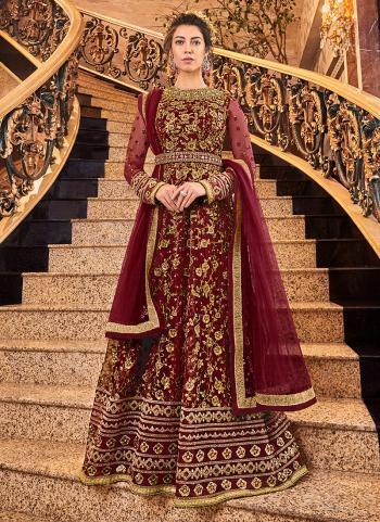 Wedding Wear Red Net Embroidery Work Anarkali Suit