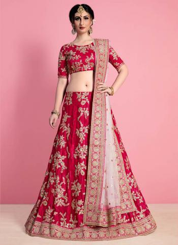 Wedding Wear Red Velvet Silk Embroidery Work Lehenga Choli