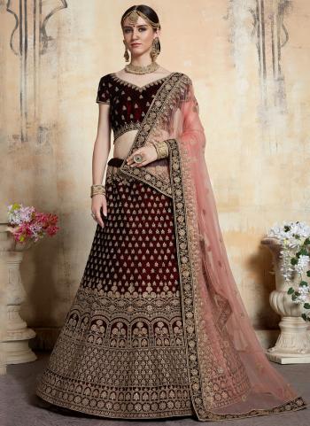 Wedding Wear Red Velvet Thread Work Lehenga Choli