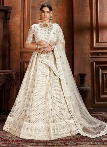 Wedding Wear White Net Thread Work Lehenga Choli