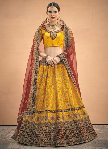 Wedding Wear Yellow Satin Zari Work Lehenga Choli