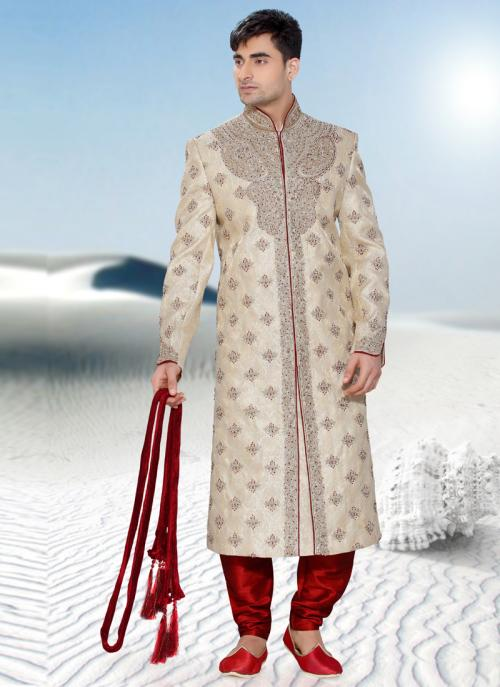 Splendid Beige Art Silk Readymade Sherwani Churidar