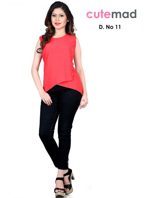 Blissful Red Georgette Diwali Special Printed Top Sws