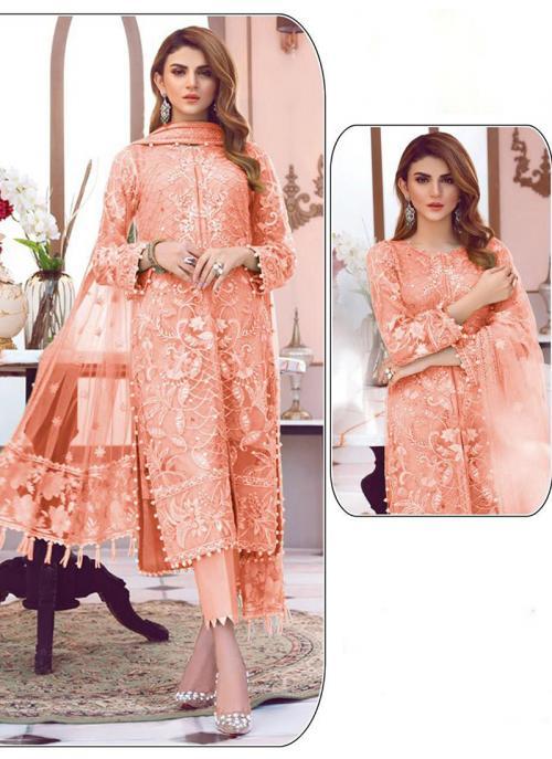 Festival Wear Embroidery Work Net Orange Pakistani Suit