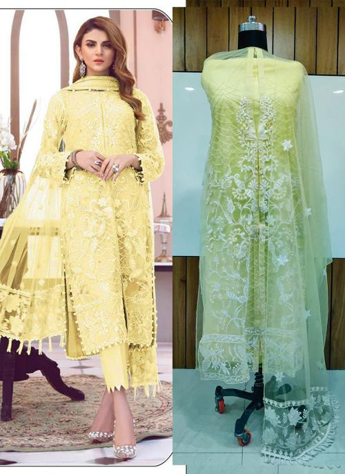 Festival Wear Embroidery Work Net Yellow Pakistani Suit