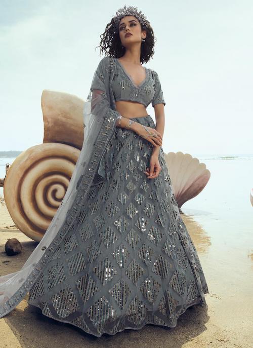 Party Wear Grey Net Sequins Work Lehenga Choli