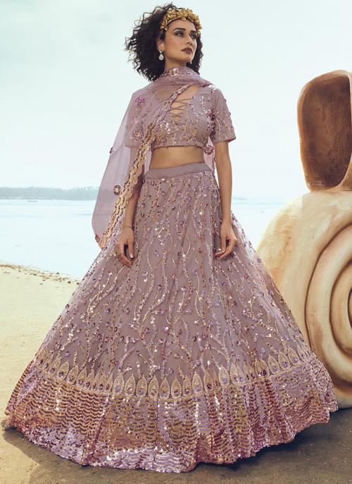 Party Wear Pink Net Thread Work Lehenga Choli