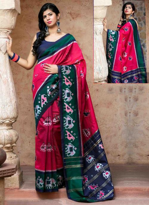 Festival Wear Pink Patola Silk Weaving Saree