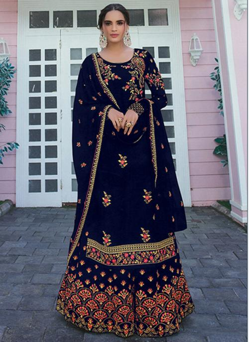 Festival Wear Navy Blue Embroidery Work Faux Georgette Palazzo Suit