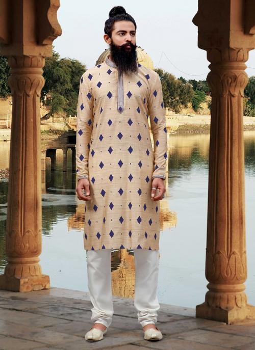 Viscose Cream Festival Wear Designer New Weaving Kurta Pajama