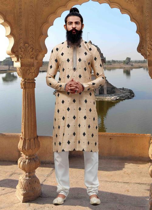 Weaving Cream Viscose Trendy Look Festival Wear Kurta Pajama