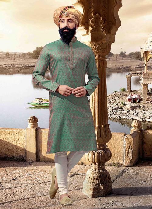 Green Jacquard Festival Wear Weaving Kurta Pajama
