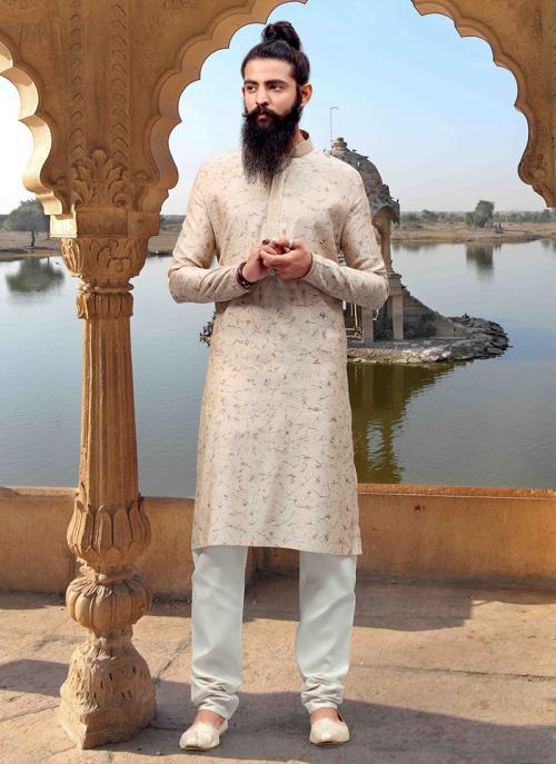 Off White Jacquard Festival Wear Weaving Kurta Pajama