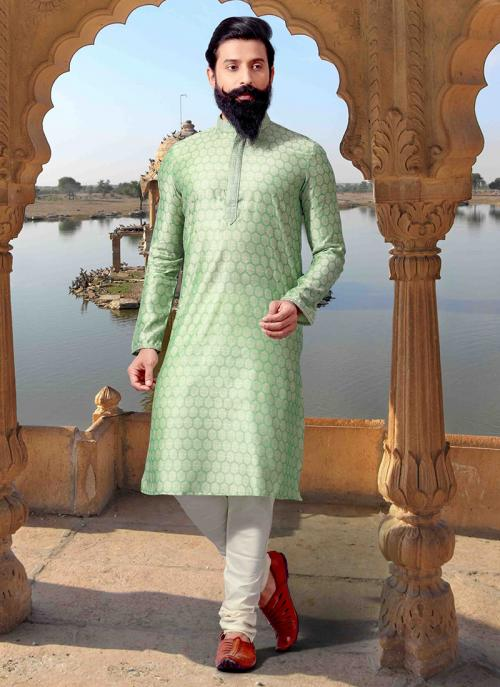 Pista Green Jacquard Festival Wear Weaving Kurta Pajama