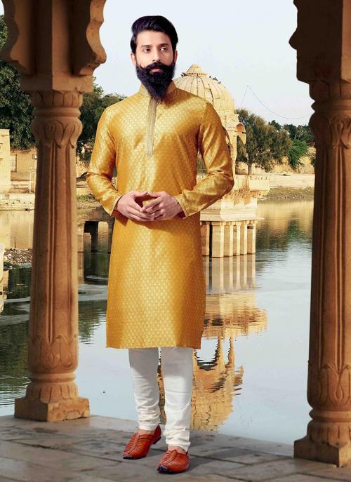 Festival Wear Weaving Yellow Jacquard Kurta Pajama