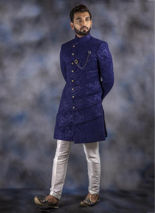 New Latest Blue Jacquard Wedding Wear Weaving Sherwani