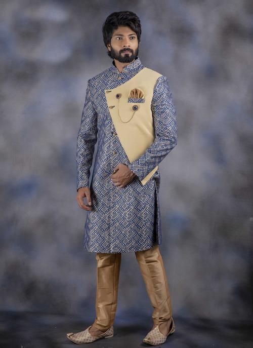 Weaving Blue Jacquard Wedding Wear Sherwani