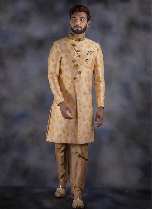 Cream Jacquard Wedding Wear Weaving Sherwani