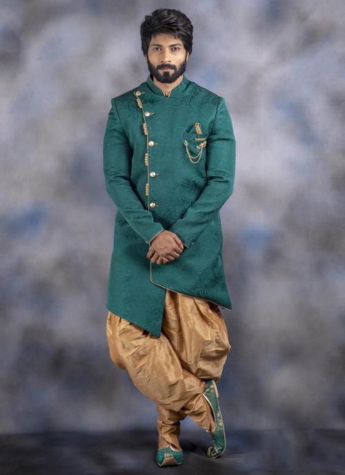 Green Jacquard Wedding Wear Weaving Dhoti Sherwani