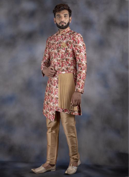 Multi Color Jacquard Wedding Wear Weaving Sherwani