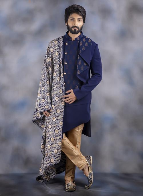 Navy Blue Jacquard Wedding Wear Weaving Sherwani