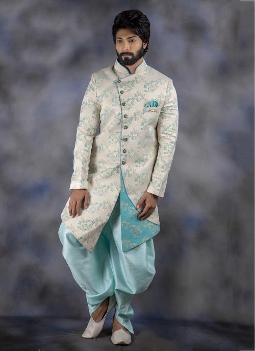Off White Imported Wedding Wear Weaving Sherwani
