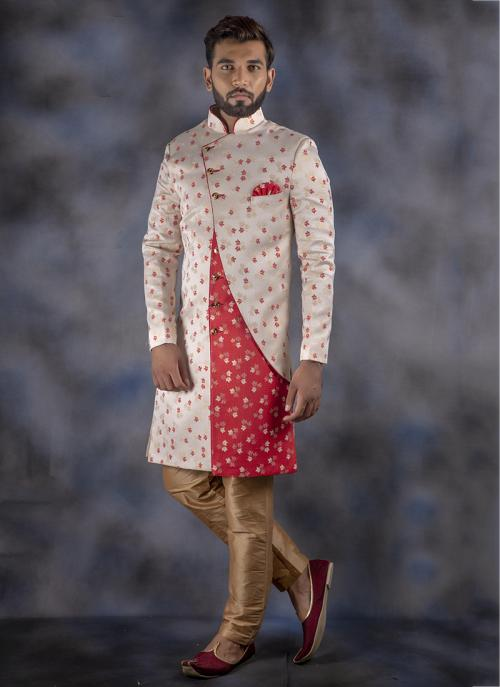 Off White Jacquard Wedding Wear Weaving Sherwani