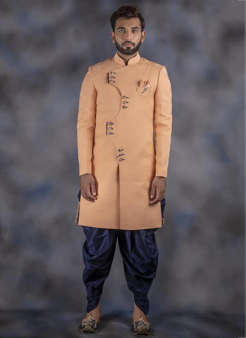 Orange Jacquard Wedding Wear Plain Sherwani