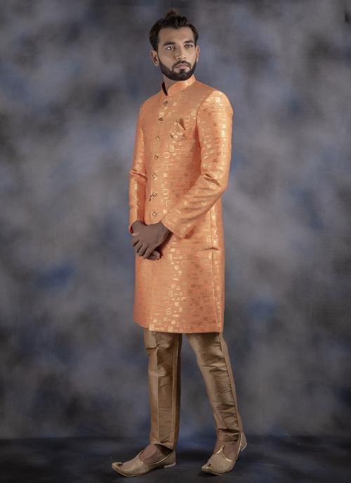 Orange Jacquard Wedding Wear Weaving Sherwani
