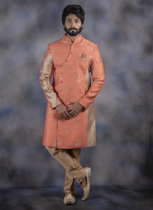 Wedding Wear Jacquard Peach Weaving Sherwani