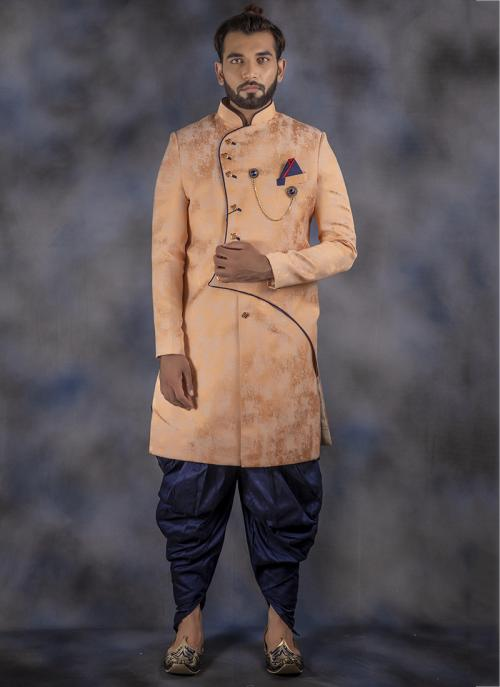 Wedding Wear Peach Jacquard Weaving Dhoti Sherwani