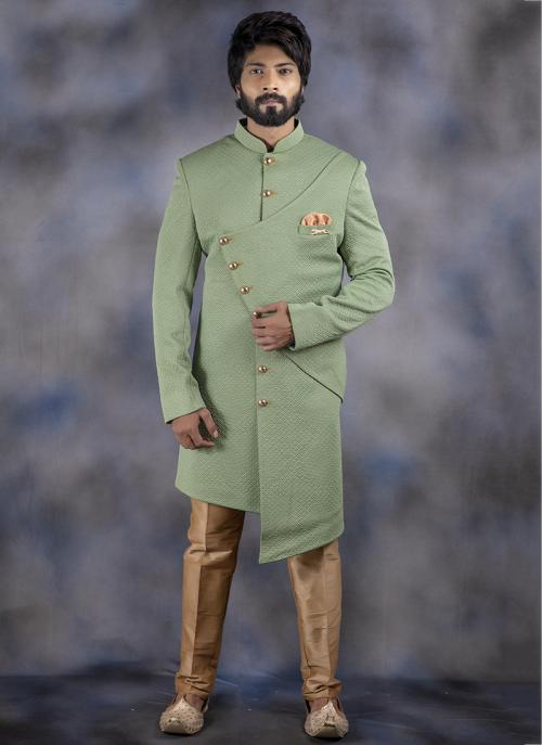 Pista Green Jacquard Wedding Wear Plain Sherwani