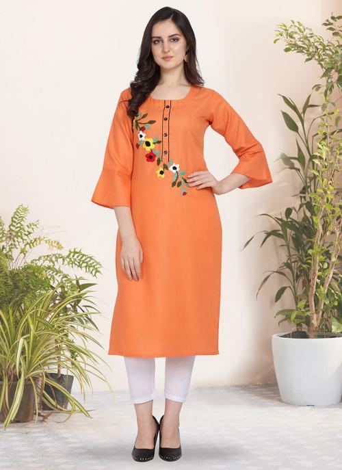 Office Wear Hand Work Cotton Orange Kurti