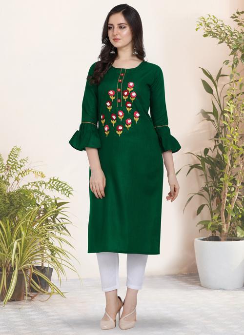 Regular Wear Hand Work Cotton Green Kurti