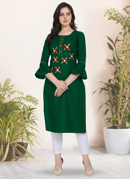 Regular Wear Hand Work Cotton Silk Green Kurti