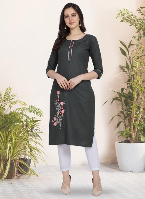 Regular Wear Hand Work Cotton Grey Kurti
