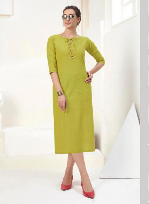 Office Wear Embroidery Work Cotton Light Green Kurti
