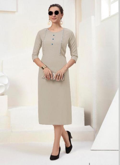 Office Wear Embroidery Work Cotton Light Grey Kurti