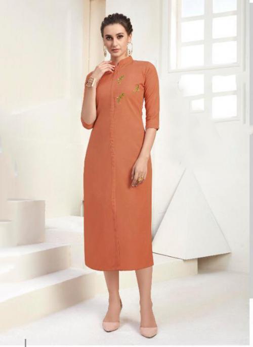 Office Wear Embroidery Work Cotton Orange Kurti