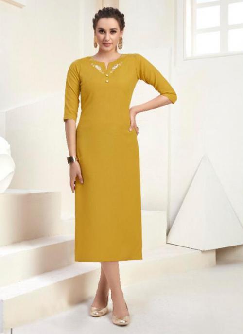 Office Wear Embroidery Cotton Yellow Kurti