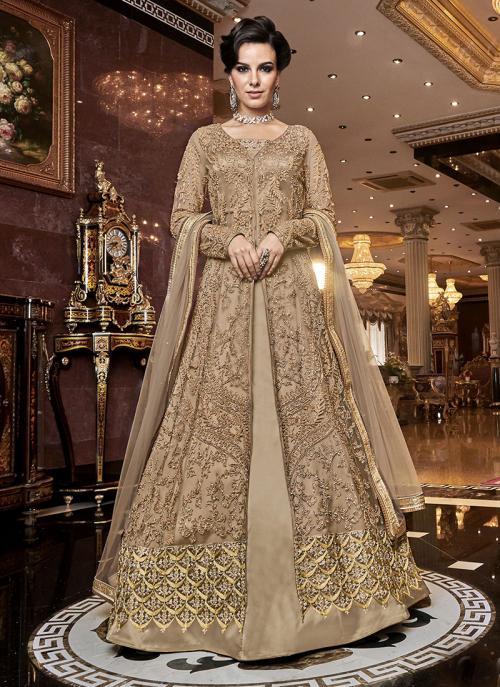 Wedding Wear Embroidery Work Beige Net Anarkali Suit